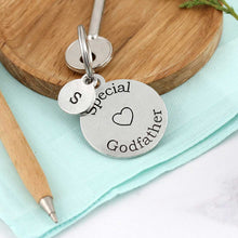 Load image into Gallery viewer, Special Godfather Personalised Round Pewter Keyring Gift. - Multiply Design