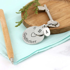 Special Godfather Personalised Round Pewter Keyring Gift. - Multiply Design