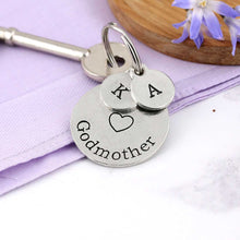 Load image into Gallery viewer, Special Godmother Personalised Round Pewter Keyring Gift. - Multiply Design