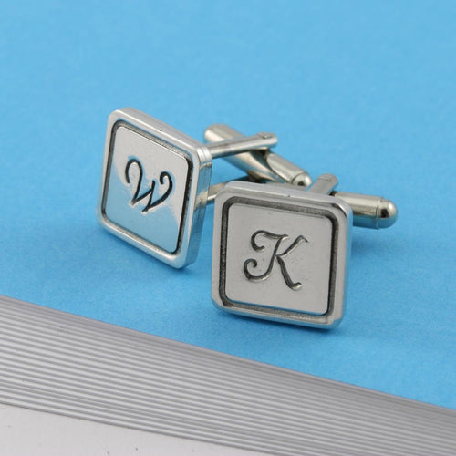 Square Personalised Pewter Monogrammed Cufflinks Gift - Multiply Design