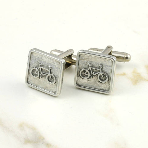 Square Pewter Bicycle Cufflinks with a Bicycle Motif - Multiply Design