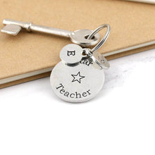 Load image into Gallery viewer, Star Teacher Personalised Round Pewter Keyring Gift for Teacher - Multiply Design