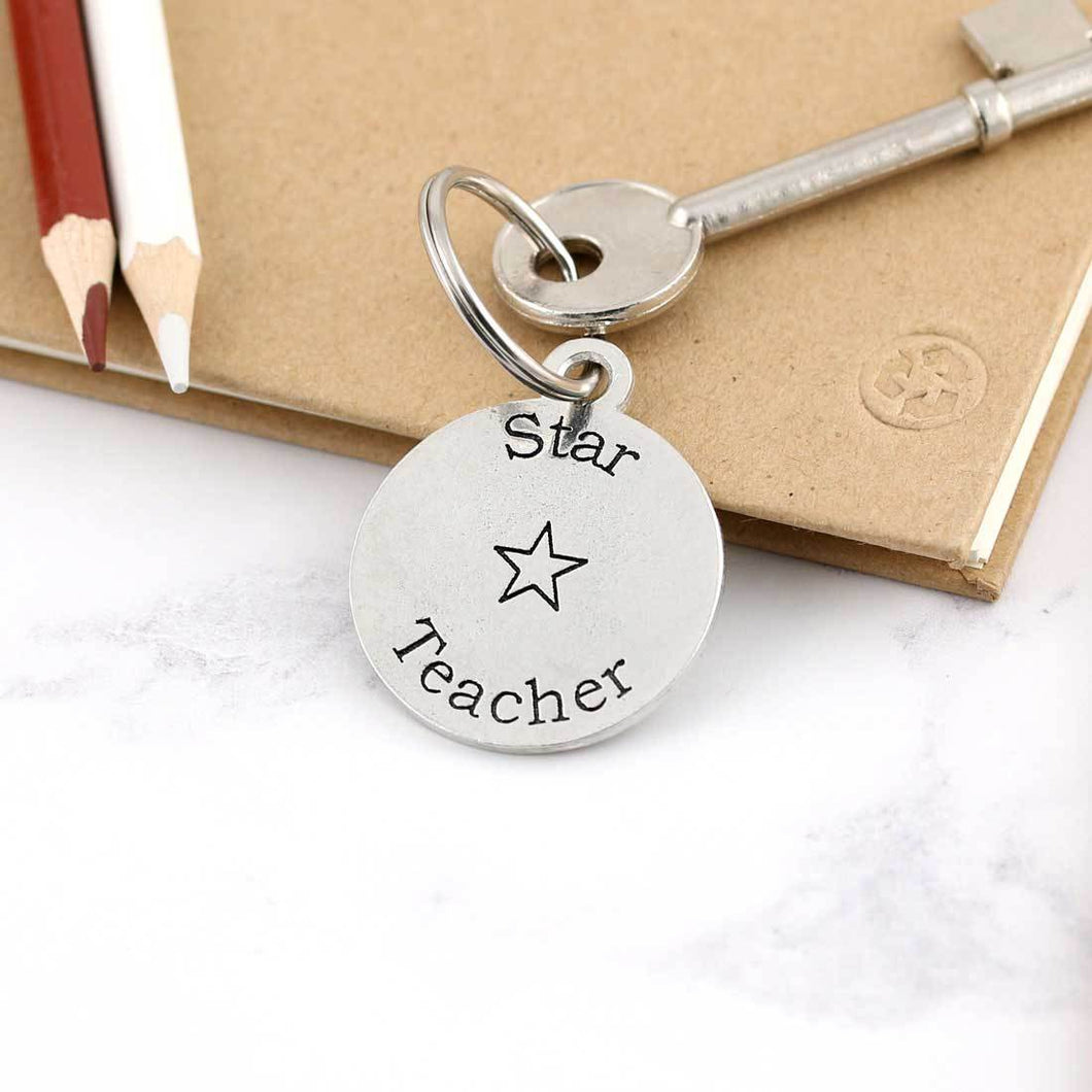 Star Teacher Personalised Round Pewter Keyring Gift for Teacher - Multiply Design