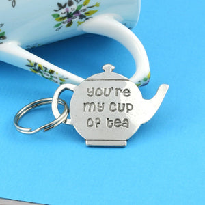 Tea Drinkers My Cup of Tea Pewter Keyring for Tea lovers and just Lovers - Multiply Design