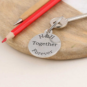 Togetherness Couples Gift Personalised Round Pewter Keyring - Multiply Design