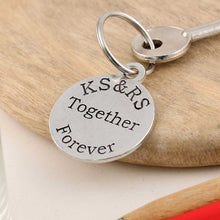 Load image into Gallery viewer, Togetherness Couples Gift Personalised Round Pewter Keyring - Multiply Design
