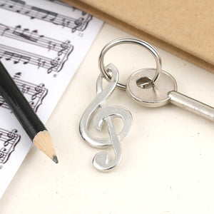 Treble Clef Pewter Keyring. - Multiply Design