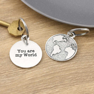 You Are My World Personalised Pewter Keying - Multiply Design