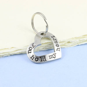 You Hold My Heart Pewter Keyring. - Multiply Design