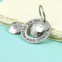 Load image into Gallery viewer, You Mean The World to Me Pewter Ring Keyring. - Multiply Design