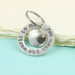 You Mean The World to Me Pewter Ring Keyring. - Multiply Design