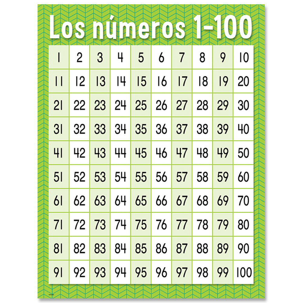 spanish chartnumeros 1 100 pacific learning pacific learning
