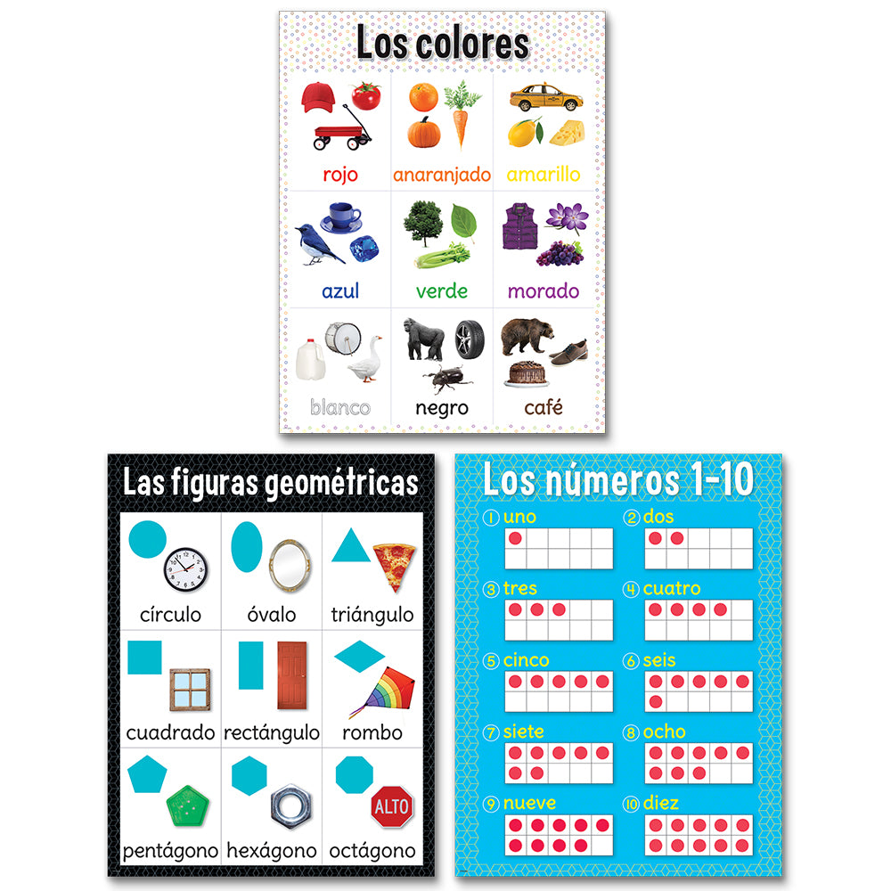 Colors, Shapes and Numbers Chart Pack en espanol