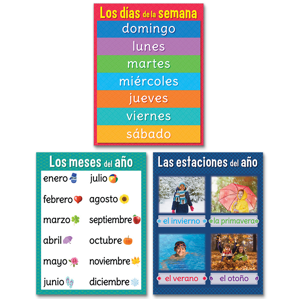 Days, Months and Seasons Chart Pack en espanol