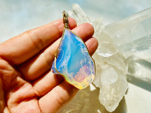 Andaras - Angelic Opalescent Andara Pendant with Sterling Gold Wrapping & Necklace <BR>天使乳白色14 KGF 金線包裹吊墜 - newearthstore
