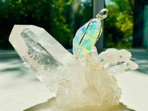 Andaras - Angelic Opalescent Andara Pendant with Sterling Silver Wrapping & Necklace <BR>天使乳白色銀線包裹吊墜 - newearthstore