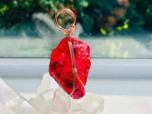 Andaras - Magenta Deep Soul Love Pendant in Rose Gold Wrapping <BR> 紫紅色靈魂深深的愛玫瑰金包裝吊墜 - newearthstore