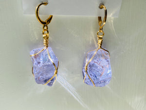 Andaras - Lilac Angelic Magic Earrings with 14KGF Wrapping <BR> 溫柔的淡紫色,啟動皇族血統金線包裹 - newearthstore