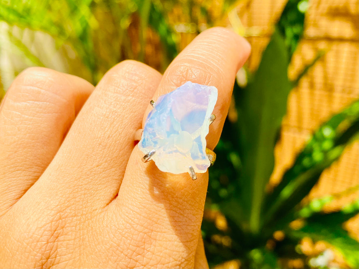 Andara Ring - Angelic Opalescent SoulFire in Sterling Silver <BR> 天使的光戒指 - newearthstore