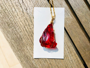 Andaras Crystalline Jewelry - Divine Ruby Ray Pendant in Gold Wrapping - newearthstore