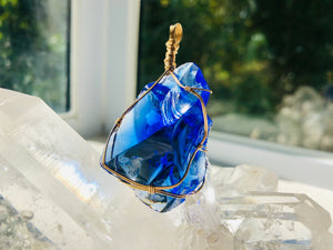 Andaras - Cobalt Blue Light Language Lyran Wrapped in 14KGF Necklace <BR>  天琴座光之語包裹 14 KGF 項鍊 - newearthstore