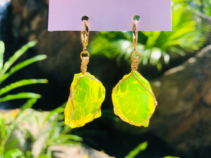(pending) Cosmic Neon Yellow Earrings Wrapped in 14GKF - newearthstore