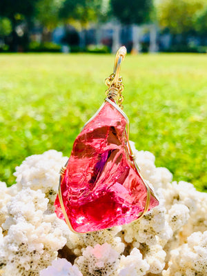 Andaras - Raspberry Love Ray Andara Pendant with Sterling Gold Wrapping & Necklace <BR>愛神之光 14 KGF 金線包裹吊墜 2 - newearthstore