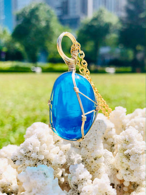 Andaras - Cosmic Blue Ray polished Pendant with Sterling Gold Wrapping & Necklace<BR> 宇宙藍光 14 KGF 金線包裹吊墜 - newearthstore
