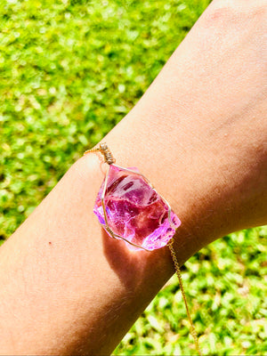Andara - Venusian Pink Pure Love Pendant Bracelet with Sterling 14KFG Wrapping <BR> 宇宙無條件的愛 14K金箔線包裹手鏈 2 - newearthstore
