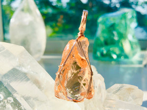 Andaras - Champagne Lemurian Activation Pendant with Rose Gold Wrapping & Necklace <BR> 溫柔香檳色的列木里亞 14K 玫瑰金箔線包裹吊墜 - newearthstore