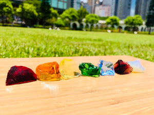 Andaras  - Rainbow Lightbody Chakra Set 7 Pieces Baby Set <BR> 彩虹光體脈輪水晶啟動 58grams - newearthstore