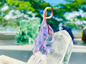 Andaras - Lilac Pendant Activate Magic & Royal Bloodlines in Rose Gold <BR> 溫柔的淡紫色,啟動皇族血統 (玫瑰金) - newearthstore