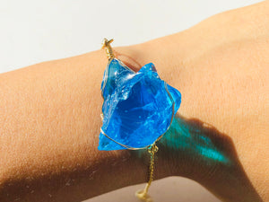 Andara - Cosmic Blue Ray  Bracelet Sterling 14KFG Wrapping & Bracelet  <BR> 宇宙藍光金線包裹手鏈 - newearthstore