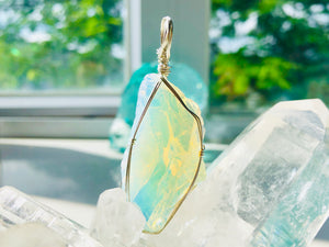 Andaras - Angelic Opalescent Andara Pendant with Sterling Silver Wrapping & Necklace <BR> 天使乳白色銀線包裹吊墜 - newearthstore