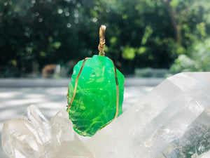 Andaras - Higher Heart Green Activator Pendant with Sterling Gold Wrapping & Necklace <BR> 高心綠色14 KGF 金線包裹吊墜 - newearthstore