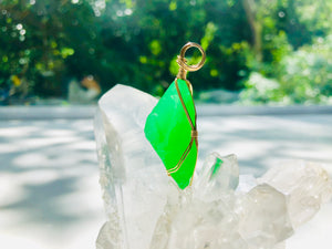 Andaras - Higher Heart Green Activator Pendant with Sterling Gold Wrapping & Necklace 2 <BR> 高心綠色14 KGF 金線包裹吊墜 2 - newearthstore