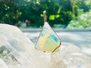 Andaras - Opalescent Angelic Activation Pendant <BR> 14KGF 玫瑰金包裹天使乳白色吊墜 - newearthstore