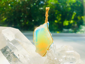 Andaras - Angelic Opalescent Andara Pendant with Sterling Gold Wrapping & Necklace 3 <BR>天使乳白色14 KGF 金線包裹吊墜 3 - newearthstore