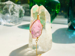 Andara - Venusian Pink Pure Love Pendant Bracelet with Sterling 14KFG Wrapping <BR> 宇宙無條件的愛 14K金箔線包裹手鏈 - newearthstore
