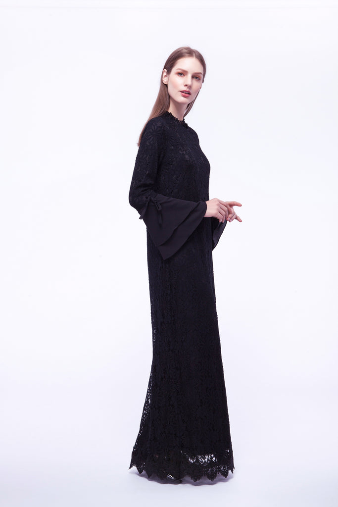 Black lace maxi dress with bell sleeve