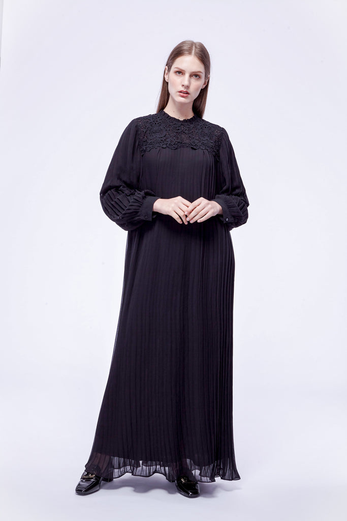 Black pleated maxi dress with embellished collar