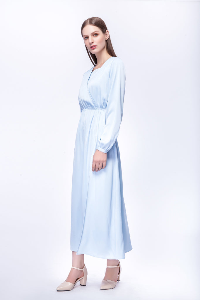 sky blue maxi dress with wrap-over detail