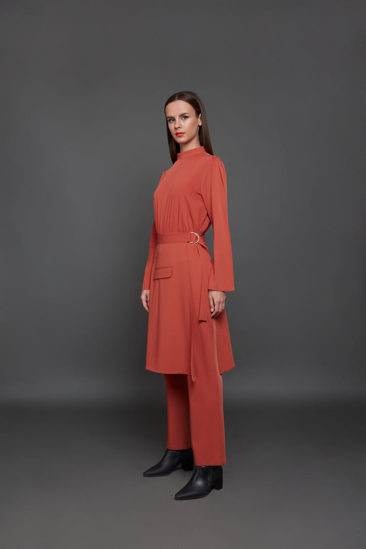 Long-sleeved belted jumpsuit  - 2 piece