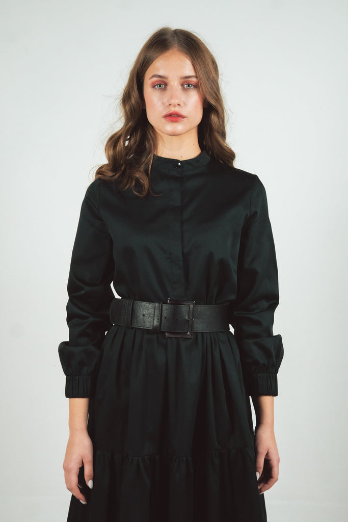 Black cotton long sleeves dress