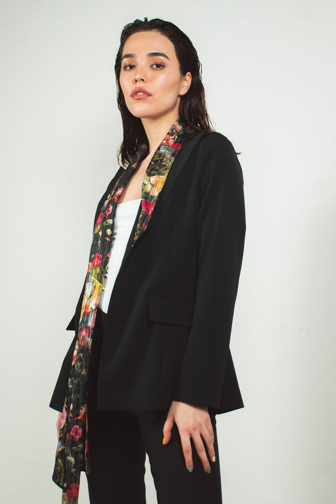 Black blazer with floral print