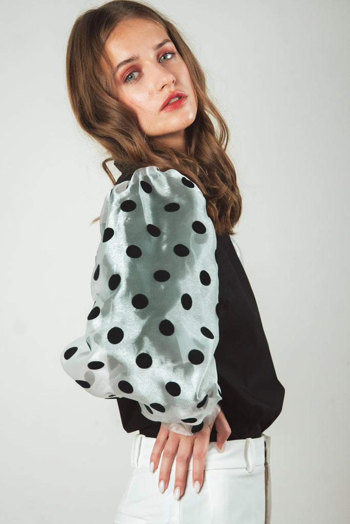 Black polka dots organza blouse