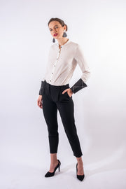 White mandarin collar shirt with removable cuffs