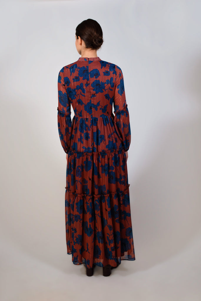 Rust printed floral dress