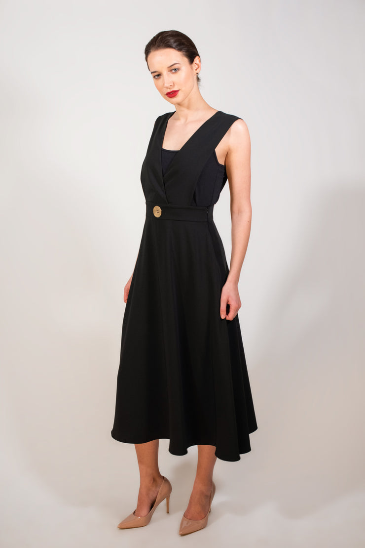 Gold button black dress