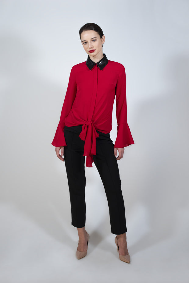 Red shirt with double face sequin collar